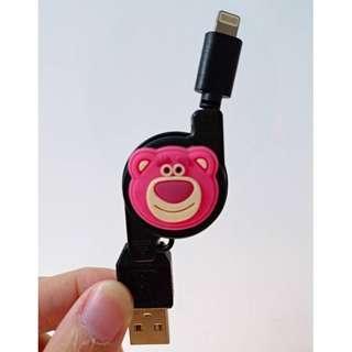【現貨】可愛卡通👀 熊抱哥 玩具總動員 蘋果手機伸縮充電線 usb可愛公仔充電線 伸縮收納方便攜帶