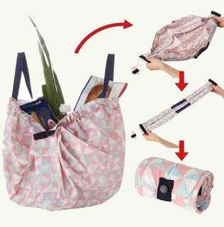 marna shupatto 日本一拉即收 秒收納購物袋 輕巧環保袋 large big 大號 粉紅色三角 媽媽袋 奶粉袋 走佬袋