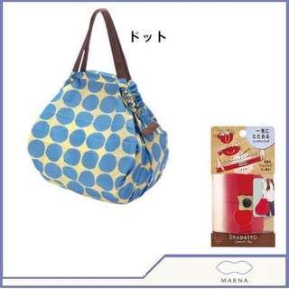 marna shupatto 日本一拉快速收納購物袋 環保袋 medium 中號 波點 媽媽袋 奶粉袋 走佬袋