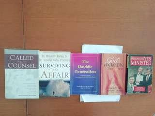 Books on various topics. Written by Jonathan Lynn & Anthony Jay and John R. Cheydleur and Deborah M. Gill and Barbara Cavaness and Pastor Tan Suan Chew and Dr Willard F. Harley, Jr. And Dr Jennifer Harley Chalmers.