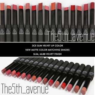 [PO NEW] 3CE Slim Velvet Lip Color - 15 Colors