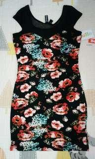 (M-L) Repriced Divided by H&M Floral Body Fitting Dress