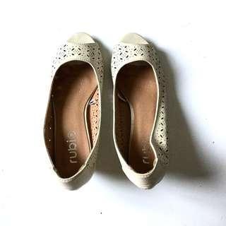 PLOVED: Beige Peep Toe Shoes