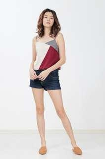 🚚 BNWOT Ninth Collective Laila Colourblock Top in Wine/Grey