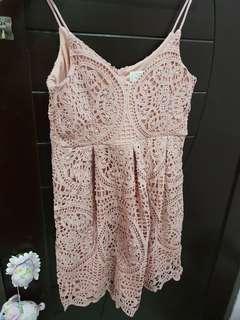 Pink Lace Dress - L size (brand new)