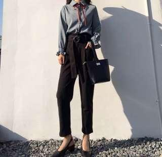 FREE MAIL ✨ suede formal pants in black