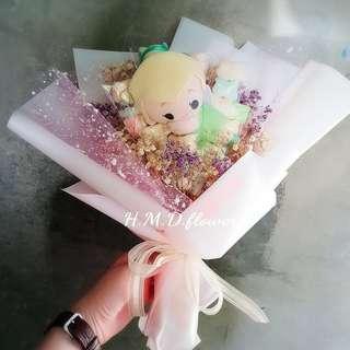 乾燥花 花束 小仙子玩偶 棉花糖串 禮物