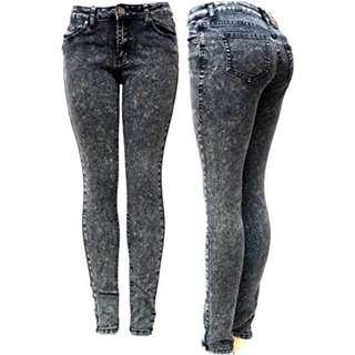 Acid Wash Jeans Grey Color