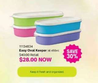 4pcs Tupperware Easy Oval Keeper 450ml