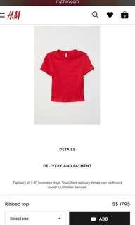 🚚 H&M's ribbed red top
