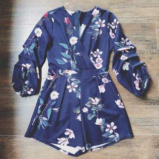 980ba6e64be Gathered Sleeves Romper   Playsuit in Navy Floral
