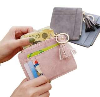Free mail Ready Stock Mini Wallet Tassel Women Card Holder Coin Purse Keychain Wallet ( Black,Pink)