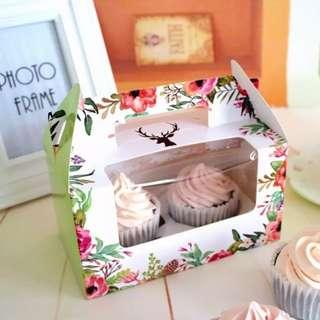 Cupcake box Green floral (includes double cupcake insert)