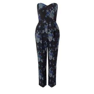 Miss Selfridge Blue Rose Jacquard Jumpsuit
