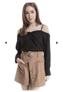 Brown Buttoned Shorts