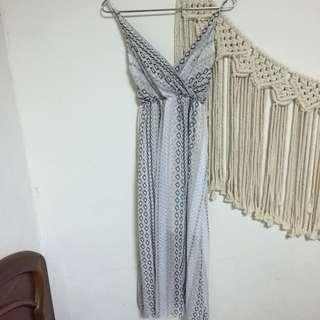 全新圖騰印花雪紡v領鬆緊長洋裝
