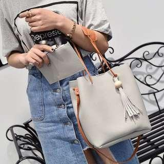 (Ready Stock) Bucket Grey Sling Bag Handcarry Bag with Free Wristlet