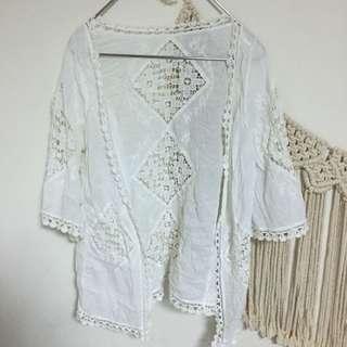 白色蕾絲鏤空七分袖薄外套