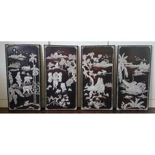 4 pieces Vintage Mother of Pearl Wall Art