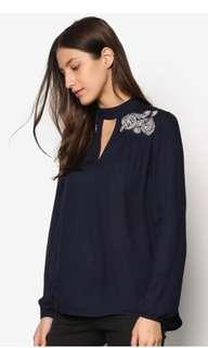 Authentic Dorothy Perkins Neck Tab Embroidered Top