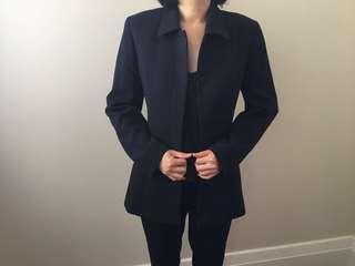 Navy blue longline blazer