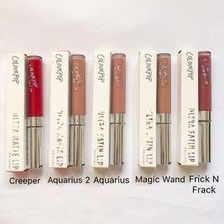 BN Colourpop Ultra Matte Ultra Satin Lip Creeper, Aquarius 2, Aquarius, Magic Wand, Frick N Frack