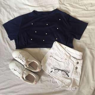 Navy Blue with Pearls Shirt