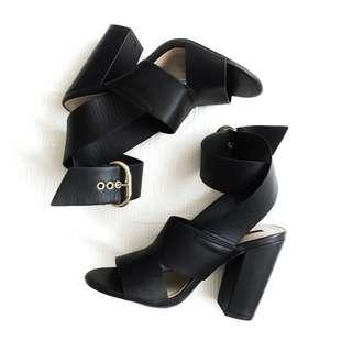 Forever21 Black Strappy Heels