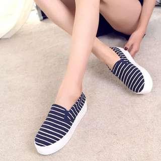 (INSTOCKS) Korean Nautical Stripe Slip On Loafers