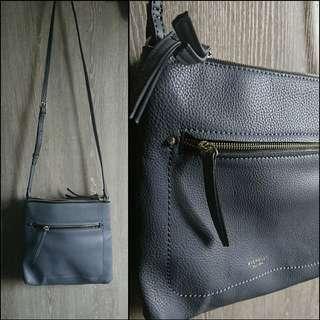 100%new 灰色PU仿皮中size雙拉鍊側揹斜揹袋 grey faux leather crossbody bag