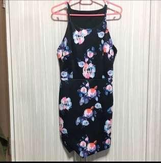 {bn} asymmetrical floral halter dress