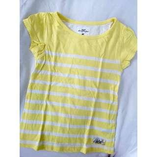 H&M kids yellow striped shirt size 5-6