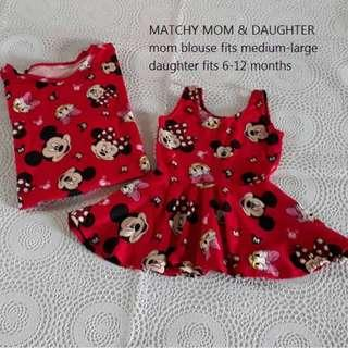 MICKEY RED mom and daughter matchy