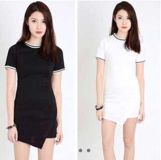 {bn} jersey black asymmetric dress