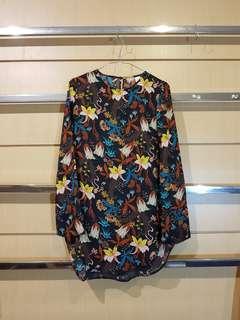 H&M Black Floral Long Top Tunic
