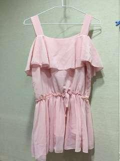 🚚 粉紅色雪紡洋裝九月女裝半價