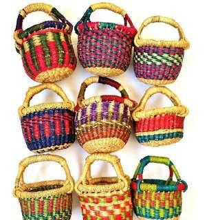 Mini African Grass Baskets tote bag market shopping gift hamper eco friendly Bolga for kids vegan