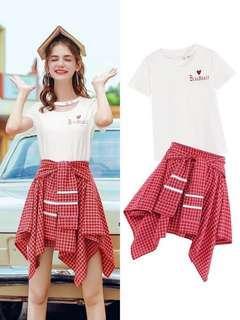Fashion white t-shirt and red skirt set