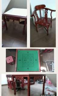 1set meja&kursi jati (ex mahyong&chinese chess)