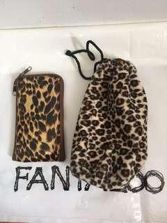 🚚 豹紋 錢包 縮口袋