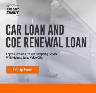 COE RENEWAL CAR LOAN. 0 down payment. 2.99% only.