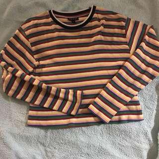 Topshop Rainbow long sleeve Crop Top