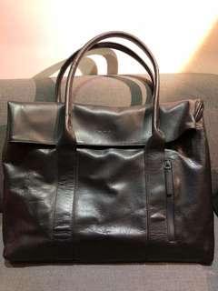 全新 Agnes b 黑色牛仔皮公事包/上膊公事包/Shoulder bag