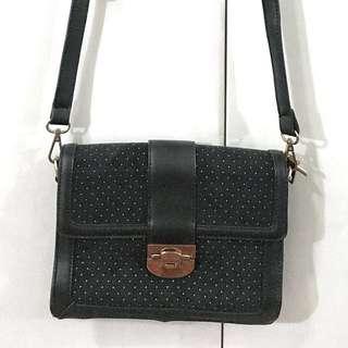 ZALORA Black Sling Bag w/ White Polka Dots