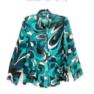 Big Size Kemeja Import Pattern Motif Abstrak Baju Atasan Wanita Oversize