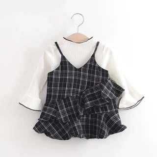 Baby checkered two piece dress