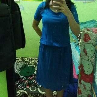 Dress biru polos