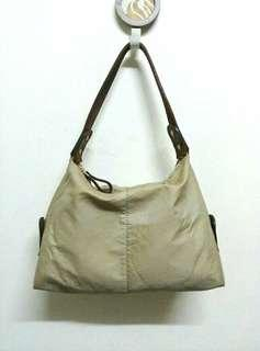 Fabric Shoulder Bag With Leather Handle