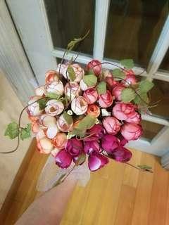 粉紅紅色系絲花花球 結婚花球 小花球 拋花球 旅拍 影相 prewedding wedding flower bouquet flower arrangement handmade big day 簡單美