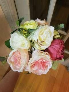 散亂美 歐式絲花花球 結婚花球 婚禮結婚pre wedding wedding flower bouquet flower arrangement chinese wedding redwhite 粉色系 紅色系 #trickortreat